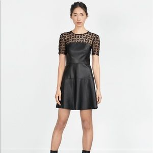 Zara Faux leather dress sz L Large Black